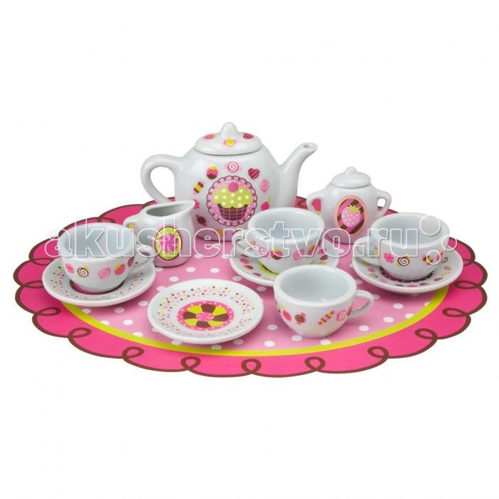 Alex Сервиз фарфоровый Веселое чаепитие со стикерами 13 предметовСервиз фарфоровый Веселое чаепитие со стикерами 13 предметовЧайный сервиз для кукол Веселое чаепитие выполнен из настоящего фарфора. Теперь маленькая гостеприимная хозяюшка может угощать своих друзей вкусным чаем.   Набор рассчитан на 4 персоны. В набор входят декоративные стикеры, с помощью котовых ребенок самостоятельно межет украсить посуду.   В наборе:  красочная скатерть, 4 чашки, 4 блюдца, заварной чайник, сахарница, сотейник, стикеры.<br>