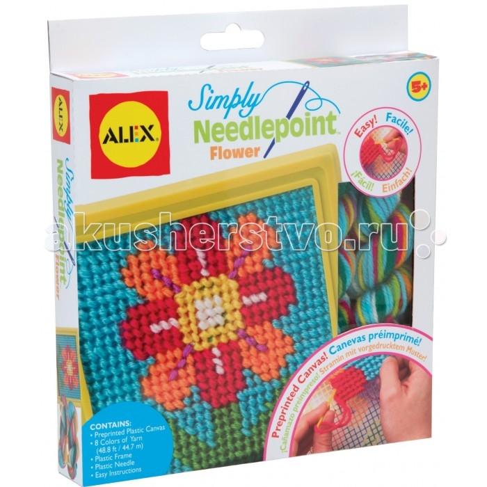 Alex Набор для вышивания ЦветокНабор для вышивания ЦветокПростой набор для вышивания по пластиковой канве. Предназначен для маленьких рукодельниц, которые только начинают осваивать все премудрости шитья и вышивания.   Этот набор не требует ткани, пялец и схем-выкроек. На плотной пластмассовой канве уже нанесен рисунок, по которому ребенок должен совершать вышивку. Сам процесс вышивания узора происходит с помощью безопасной тупой пластиковой иглы с большим ушком и толстых шерстяных нитей из комплекта.   Все составляющие набора рассчитаны на маленькие детские ручки, поэтому имеют большой размер и эргономичные формы. Результатом работы вашего ребенка будет симпатичный цветочек на голубом фоне. Эту вышивку можно убрать в рамку и повесить на стену или это может стать отличным подарком для мамы или бабушки.<br>