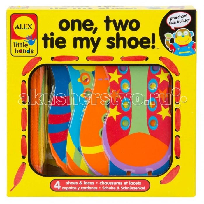 Развивающая игрушка Alex Игрушка-шнуровка Раз, Два, зашнуруй меняИгрушка-шнуровка Раз, Два, зашнуруй меняЧетыре яркие забавные фигурки в виде забавных ботиночек с яркими шнурочками - незаменимая игрушка для развития мелкой моторики и обучению ребенка зашнуровыванию обуви и завязыванию разных узелков и бантиков.<br>