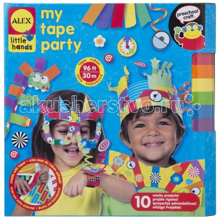 Alex Аппликации из цветной бумаги Праздничная вечеринкаАппликации из цветной бумаги Праздничная вечеринкаНабор для создания 10 веселых аксессуаров для детской вечеринки: корона, солнечные очки, галстук-бабочка, смешные часы и прочее.   Прекрасная идея веселого и полезного досуга для компании детишек: сначала они вместе мастерят все эти красочные украшения, а потом примеряют их на себя. Весело и занимательно!  В наборе:  6 рулонов ленты (30 м), 165 наклеек и бумажных форм, бумажный стаканчик, цветная бумага, порезанная соломкой, бумажные трубочки.<br>