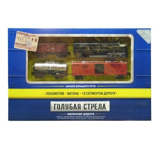 Железные дороги Голубая стрела Тепловоз с тремя вагончиками 330 см 87123