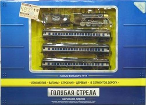 Железные дороги Голубая стрела с паровозом и тендером 403 см 87126