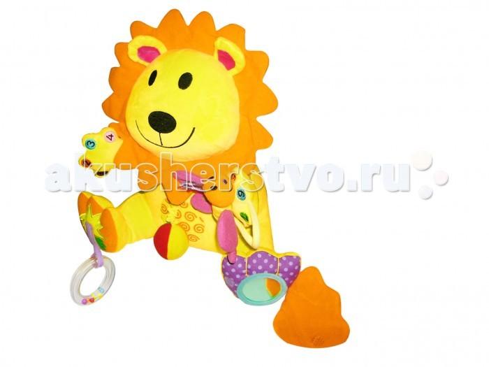 Мягкая игрушка Biba Toys Занятой левЗанятой левИгрушка Biba Toys Занятой лев, с развивающими элементами: зеркало, погремушка, прорезыватель, вибрирующий элемент и предметы для развития моторики и тактильных ощущений.   Размер: 29х22х23 см<br>