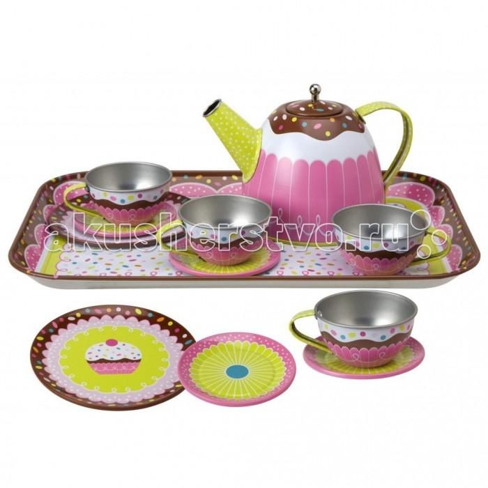 Alex Чайный сервиз ЯммиЧайный сервиз ЯммиВеликолепный набор посуды для маленькой хозяйки. Отличная игрушка для сюжетно-ролевых игр маленьких помощниц на кухне. Можно играть как одному, так и компанией (с подружками, с мамой или бабушкой).  Включает в себя: 4 чашки, 4 блюдца, 4 тарелочки, чайник с крышкой и поднос.<br>