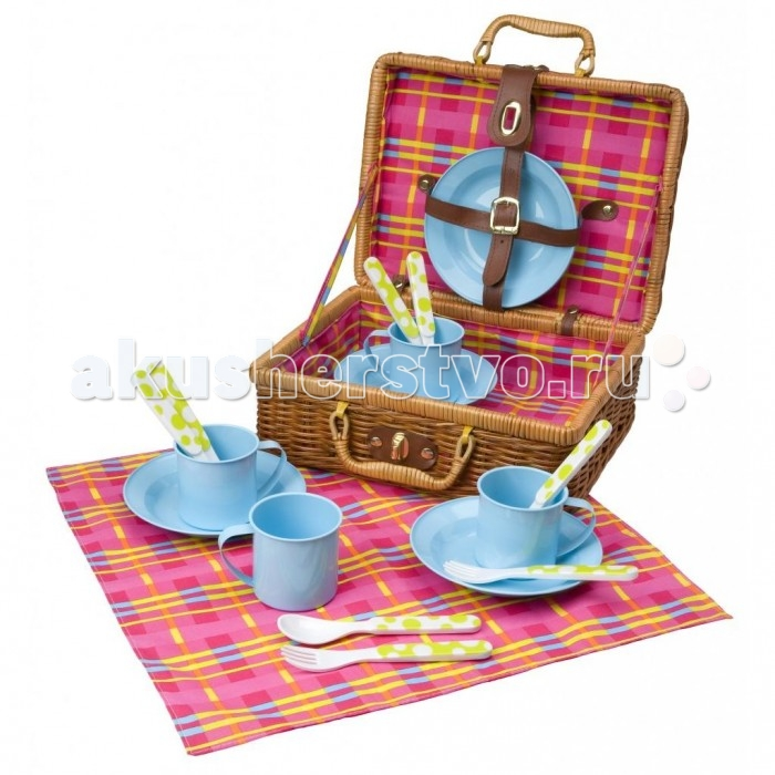 Alex Набор для пикника в корзине 18 предметовНабор для пикника в корзине 18 предметовВеликолепный набор посуды для пикника в корзине-чемоданчике. В наборе: 4 металлические чашки и тарелки, 4 пластиковых вилки, 4 пластиковых ложки, скатерть. Упаковано в удобный плетеный чемоданчик с замочком.<br>