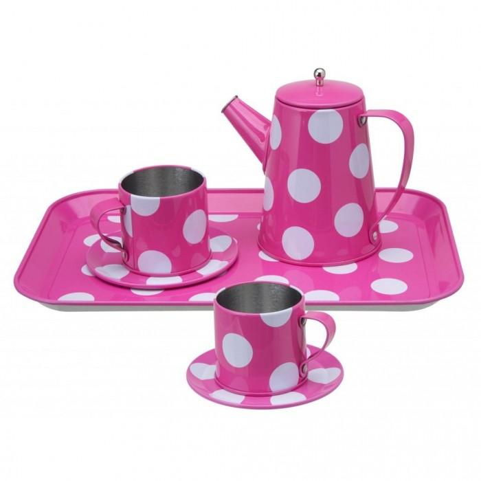 Alex Чайный набор розовый в горошекЧайный набор розовый в горошекОчаровательный чайный сервиз розового цвета в белый горох. Состоит из двух чашек с блюдцами, чайника с крышкой и подноса.   Все предметы изготовлены из прочного эмалированного металла.<br>