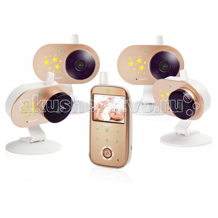 Ramili Видеоняня Baby RV1200X4Видеоняня Baby RV1200X4Ramili Видеоняня Baby RV1200X4 с тремя камерами оснащена всеми необходимыми функциями для комфортного удалённого наблюдения за ребёнком.  Особенности: Диагональ дисплея видеоняни составляет 6,1 см (2,4 дюйма). Оптимальная величина дисплея значительно увеличивает время работы видеоняни без подзарядки. Дальность приёма составляет 300 метров. Используется современная цифровая технология передачи данных, поэтому связь между блоками стабильна и отличается высоким качеством. Благодаря этому обстоятельству существенно повышается безопасность и надёжность мониторинга. Особенно удобно использовать видеоняню Ramili Baby RV1200 во время прогулок или в загородном доме. Лёгкую и компактную камеру, оснащённую специальным механизмом складывания, возможно закрепить на козырьке коляски, на бортике манежа или кроватки. Камера оснащена встроенным аккумулятором, благодаря чему видеоняня отлично работает на улице, на балконе и в условиях отсутствия постоянного источника питания.  Автоматическое ночное видение. Ночник со звёздочками на детском блоке. Стабильная, защищённая цифровая связь. Качественное изображение и звук. Система подавления помех связи. Аккумулятор в родительском и детском блоках. Индикаторы уровня заряда каждого блока отображаются на экране. Оповещение о низком заряде. Динамическая система сохранения энергии (мощность передачи регулируется автоматически, зависит от расстояния между блоками). Оповещение о выходе их зоны приёма. Специальная конструкция крепления камеры для удобного размещения на бортике кроватки или манежа, а также на козырьке детской коляски. Двухсторонняя связь. Термометр в детском блоке для измерения температуры воздуха в детской. Значение отображается на экране родительского блока. Оповещение о выходе температуры за пределы заданного диапазона. Индикатор громкости плача (удобно при выключенном звуке). В комплект уже входят 4 камеры. Система активации видеоняни при обнаружении плача (VOX). Непрерывный