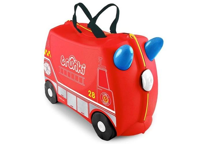 Trunki Детская каталка-чемодан Frank Пожарная машинаДетская каталка-чемодан Frank Пожарная машинаTrunki Frank – оригинальный красный детский чемодан созданный для озорных детей чтобы избавить их от скуки и усталости. Предназначен для использования в качестве ручной клади, дети могут сложить в Trunki свои любимые игрушками, самостоятельно ехать на нем, или просто сидеть и наслаждаться катанием, в то время как родители будут везти их на буксире.  Особенности чемодана:  Перевозка и хранения игрушек и багажа; Веселое катание на чемоданчике; Отдых ребенка, когда родители просто катают его; Многофункциональный ручной буксировочный ремень; Ремни безопасности для плюшевого мишки; Две ручки для переноски; Секретные отсеки; Фиксаторы.  Основные характеристики:  Объем: 18 л Выдерживает до 45 кг веса Размеры чемодана: 46 х 20,5 х 31 см Вес: 1,7 кг<br>