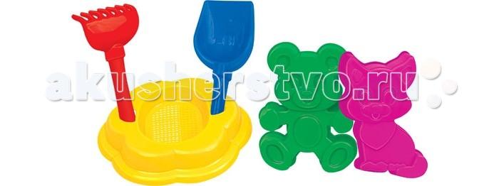 Полесье Набор для песочницы №90Набор для песочницы №90В набор для песочницы № 90 входит самое необходимое для веселой игры в песке. Лопатка №5, грабельки №5, формочки (котёнок + медведь), ситечко-цветок большое.  Все предметы выполнены из безопасного для детей пластика.  Игры в песке развивают воображение, фантазию, мелкую моторику рук. Отлично поднимает настроение малышам.<br>