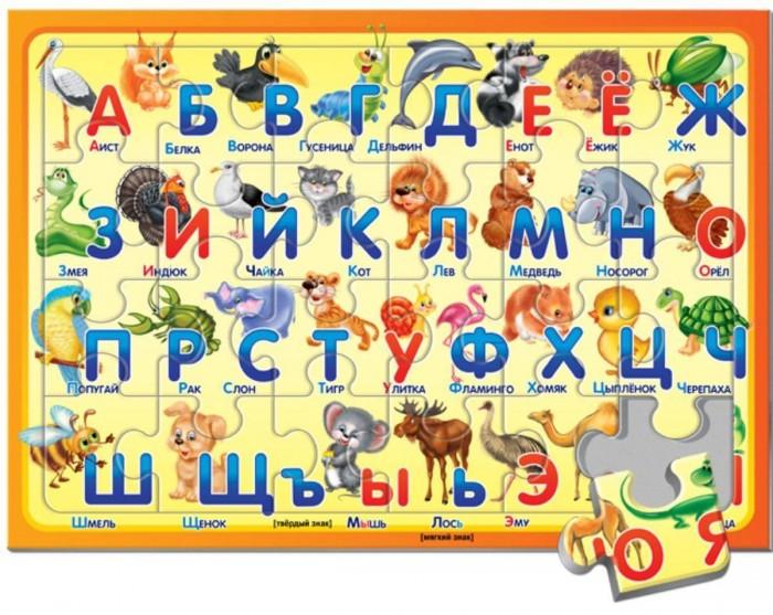 Русский стиль Пазл в рамке Алфавит Животные 24 элементаПазл в рамке Алфавит Животные 24 элементаРусский стиль Пазл в рамке Алфавит. Животные, 24 элемента.  На данном пазле от бренда Русский стиль изображены буквы алфавита, а также поясняющие картинки и слова к каждой из них. Сам пазл состоит из 24 крупных элементов, которые прочно соединяются между собой, а специальная рамка не даст им распасться.   Детали сделаны из плотного картона, поэтому алфавит можно собирать и разбирать много раз, не боясь испортить края элементов. Сборка этого пазла поможет развить у ребенка усидчивость и концентрацию внимания, а также обучить его буквам и подготовить к школе.<br>