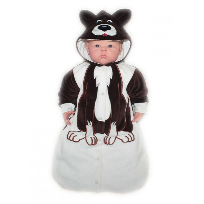 Осьминожка Конверт Собака В мире животныхКонверт Собака В мире животныхКонверт для новорожденных Собака размер 56 выполнен в коричнево-белой цветовой гамме и имитирует внешний вид собачки, который поднимет настроение не только вам, но и малышу.   Такая одежда станет отличным и просто незаменимым элементом гардероба, который подарит вашему малышу тепло и уют. Имеет удобные застежки-кнопки по всей длине, что облегчит переодевание малыша.  Капюшон имеет ушки, на передней его части он украшен изображением мордочки. На самом конверте, там, где будет находиться тело малыша, от шеи и до начала ножек изделие напоминает тельце животного.   Конверт для новорожденных выполнен из абсолютно качественного материала, который не вызывает аллергических реакций и раздражений на коже вашего малыша.   Верхняя часть изделия изготовлена из качественного велюра, который приятен коже, а подкладка сделана из интерлока.  Материал: высококачетсвенный велюр (состав: 80% хлопок, 20% п/э), на подкладке из интрелока (состав: 100% хлопок)  Уход: Ручная стирка при 30 гр.<br>