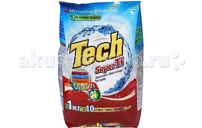 LG H&amp;H Стиральный порошок Tech Super Ti для цветных вещей с функцией защиты цвета 1 кгСтиральный порошок Tech Super Ti для цветных вещей с функцией защиты цвета 1 кгLG H&H Стиральный порошок Tech Super Ti для цветных вещей с функцией защиты цвета 1 кг без фосфатов предназначен для стирки цветного белья.  Благодаря активным компонентам (энзимам) удаляет пятна даже при низких температурах, не деформирует структуру волокон ткани.  Порошок хорошо выполаскивается с первого раза и не оставляет белых пятен на одежде. Порошок создает малое количество пены и обладает приятным ароматом. Подходит для любого типа стиральных машин и для ручной стирки.<br>