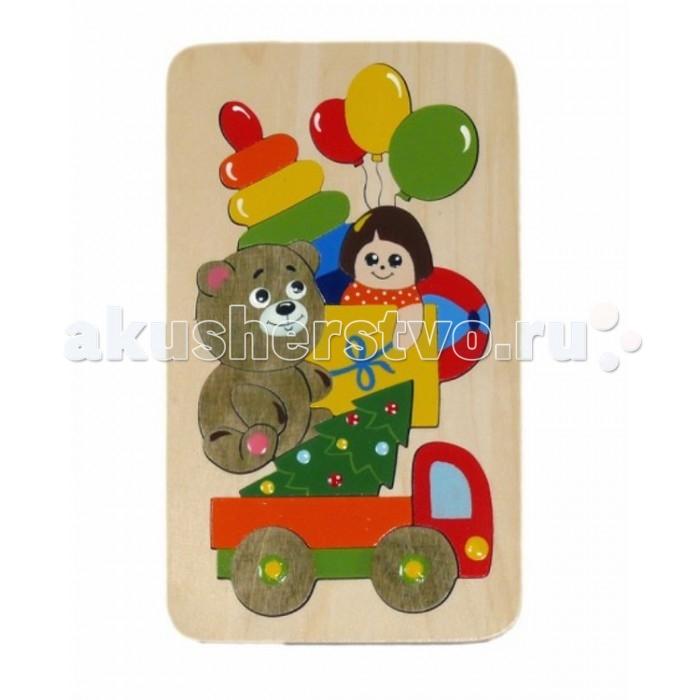 Vilac Мозаика-вкладыш ПодаркиМозаика-вкладыш ПодаркиКакой ребёнок не любит подарки? С помощью новой детской мозаики Подарки из натурального дерева малыш сможет не только развивать мелкую моторику, складывая пазл, но и поиграть со своим любимым сюжетом. В деревянной рамке собраны самые любимые детские подарки: грузовик, кукла, воздушные шарики, мячик, пирамидка, плюшевый медведь. Мозаика состоит из 18 деталей, собрать её сможет уже двухлетний малыш. Собирая пазл, проговаривайте новые слова, и ребёнок легко усвоит их и будет использовать в своей речи.<br>