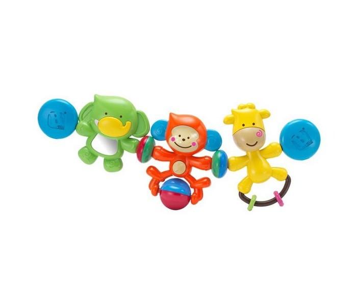 Подвесная игрушка B kids Веселые друзьяВеселые друзьяB kids Подвеска Веселые друзья 004643B  Подвеска «Веселые друзья» со световыми и звуковыми эффектами от Bkids предназначена для того, чтобы развлечь малыша в пути. Благодаря универсальным креплениям она подходит и для коляски, и для автокресла-переноски.   Подвеска включает в себя три игрушки, окрашенные в разные цвета и обладающие различным функционалом. Это зеленый слоненок с безопасным зеркальцем в животе, оранжевая обезьянка с шариком-погремушкой и желтый жираф с подвижными прорезывателями.   Внимание: для активации световых и звуковых эффектов вам потребуется 2 батарейки типа LR44.  Игрушку можно купить ребенку с рождения.<br>