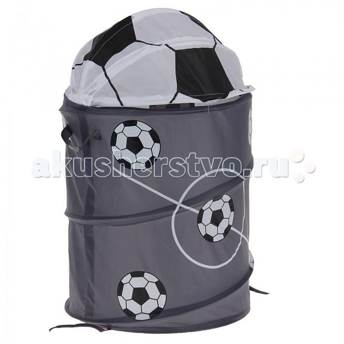 Ami&amp;Co (AmiCo) Корзина для игрушек Футбол 38х45Корзина для игрушек Футбол 38х45Amico Корзина для игрушек Футбол  Чтобы игрушки не пылились, поможет вместительная корзина для игрушек.   Она яркая и красивая, что обязательно оценит любой ребенок.   Легко складывается в сумочку, которая прилагается к корзине, как подарочная упаковка.   Имеет каркас на гибкой пружине.  Малыш с удовольствием приспособит ее для игр и пряток.  Выполнена из экологически чистых материалов.  Размеры:  45х38 см.<br>
