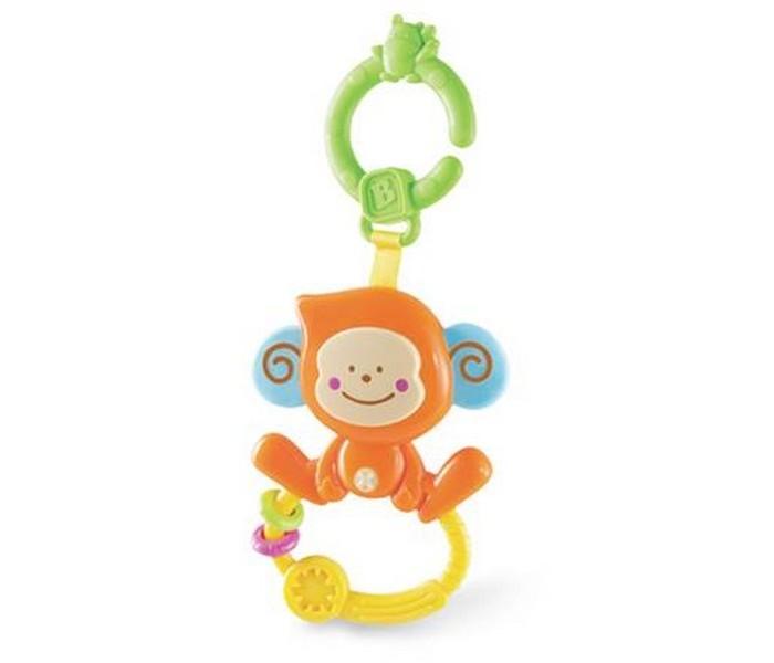 Прорезыватель B kids Веселая обезьянка с колечкомВеселая обезьянка с колечкомB kids Прорезыватель Веселая обезьянка с колечком 004499B  Игрушка «Веселая обезьянка с колечком» - это удобный прорезыватель со звуковым эффектом и подвесным креплением. Если вы нажмете на нос обезьянки, вы услышите звук. На ножках мартышки закреплено колечко с рельефной поверхностью и двумя мини-массажерами для десен. В верхней части игрушки есть крепление в виде кольца, с помощью которого можно зафиксировать обезьянку на коляске, автокресле, бортике кроватки и других поверхностях.    Игрушку можно предложить ребенку с рождения.<br>