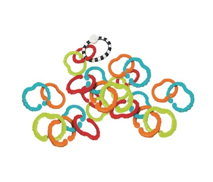 Прорезыватель B kids цепь Веселые колечки 25 шт.цепь Веселые колечки 25 шт.B kids Прорезыватель-цепь Веселые колечки 25 шт. 004898B  Игровой набор Веселые колечки от бренда B Kids являются многофункциональной игрушкой для малыша. В комплекте имеются 25 колец. Одно колечко - черно-белого цвета и при этом цельное. Остальные 24 кольца цветные и сделаны с отверстием, которое нужно, чтобы соединять их между собой. Малыш сможет развивать свои логические способности, соединяя колечки. Улучшаются тактильные навыки и цветовосприятие. Также, данные колечки малыш сможет использовать эти кольца при прорезывании зубов. Колечки изготовлены из безопасного пластика.<br>
