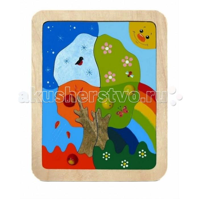 Vilac Мозаика-вкладыш Времена годаМозаика-вкладыш Времена годаМозаика Времена года простая и одновременно сложная игрушка! Как так может быть? Ребёнок освоит её просто, играючи, но научится в процессе игры очень важным и сложным вещам. Состоит всего лишь из 13 элементов. Выполнена очень качественно, ствол дерева – морёный, остальные детали ярко и надёжно окрашены. Яблочки выпуклые, оформление каждого времени года интересно продумано до мелочей. Оно яблоко осенью уже упало. Развивать мелкую моторику и изучать времена года по мозаике – одно удовольствие. Отправляйтесь вместе с ребёнком в увлекательное путешествие под названием Один год из жизни яблони. Вас ждут удивительные приключения.  Основные характеристики:   Размер упаковки: 20.8 x 16.9 x 1.1 см Вес: 220 г Количество элементов: 13 шт.<br>