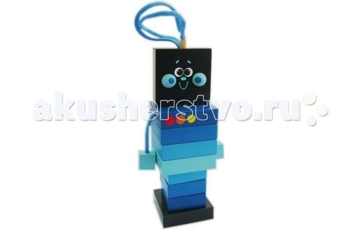 Деревянная игрушка Vilac Пирамидка РоботПирамидка РоботРобот Крона – интересная занимательная игрушка 2 в 1 – пирамидка и шуровка. Шайбы имеют квадратную форму, а наконечник выполнен в форме улыбчивой головки робота.<br>