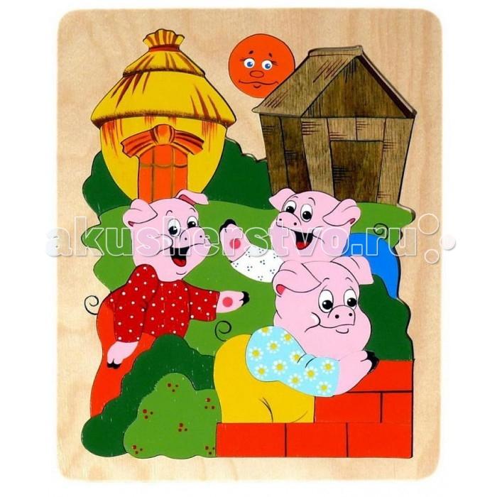 Vilac Мозаика-вкладыш Три поросенкаМозаика-вкладыш Три поросенкаТри поросёнка - мозаика – пазл средней сложности, отдельные элементы сможет вставить в картинку и годовалый малыш, полностью собрать её будет не просто и трёх-четырёхлетке, а развивающих возможностей игрушки хватит до 6-7 лет. Сюжет знакомой сказки обязательно заинтересует ребёнка, а может, станет поводом к знакомству с этой интересной и полезной сказкой, которая научит вашего ребёнка не лениться, доводить начатую работу до конца и выполнять её качественно на совесть. Конечно же, мозаика, развивает мелкую моторику, мышление, внимание и усидчивость. Обсуждая или рассказывая сказку, ребёнок развивает свою речь. Как сделать игру с мозаикой ещё более полезной, мы постараемся вам рассказать: Научите ребёнка собирать мозаику Три поросенка, подбирая детали по цвету?Например, вы собираете деревянный домик, спросите малыша, какого он цвета, предложите найти все элементы коричневого цвета. Теперь собирать домик стало гораздо удобнее. Если вы учите собирать пазл малыша около двух лет, то раскладывать на группы по цвету ему будет удобнее, если место каждой группы вы обозначите цветным кругом, вырезанным из картона. На красный круг ребёнок соберёт все красные элементы и т.д.  Основные характеристики:   Размер упаковки: 1 &#215; 18 &#215; 25 см Вес: 0.3 кг<br>