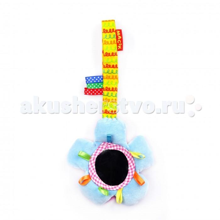 Подвесная игрушка Macik на липучке Зеркальцена липучке ЗеркальцеЗабавную подвеску можно легко закрепить на коляске, кроватке, автокресле или к дугам развивающего коврика.  Вкусное колечко-звездочка, хрустящая подушечка с гремелкой и разнофактурные петельки.  Приятная и мягкая  на ощупь подвеска выполнена из натуральных слюновпитывающих материалов.<br>