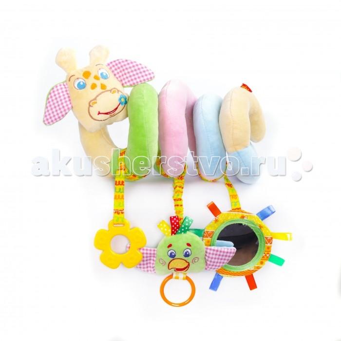 Погремушка Macik Растяжка-спираль ЗооРастяжка-спираль ЗооМягкая растяжка-спираль - настоящий тренажер для малыша.   Эта игрушка таит в себе массу увлекательных деталей: вкусный прорезыватель, забавное зеркальце с разноцветными петельками и веселый попугай Шалун с колечком.  В голове жирафа спрятана звонкая пищалка.  Вся игрушка выполнена из натуральных слюновпитывающих материалов. <br>