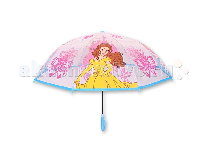 Детский зонтик Играем вместе Дисней принцесс прозрачный (куп 76 см)Дисней принцесс прозрачный (куп 76 см)Детский зонтик Играем вместе Дисней принцесс прозрачный (куп 76 см) собственный зонт для прогулок в дождливую погоду.   Материал каркаса ветроустойчивый, обладает особой прочностью металла и стойкостью полимера, при этом легкий и долговечный, а концы спиц снабжены пластмассовыми наконечниками для защиты от травм.<br>