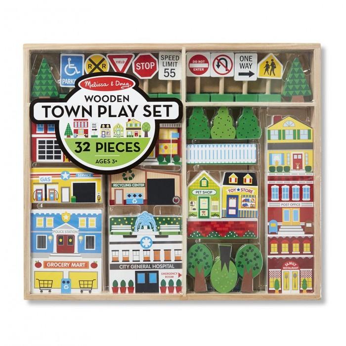 Деревянная игрушка Melissa &amp; Doug Набор городНабор городMelissa & Doug Набор Город  Построить мир, наполненный фантазией, блок за блоком! Игровой набор включает в себя 32 детали. Все необходимое для создания миниатюрного пейзажа (в том числе пожарные и полицейские станции, автосервис, дом, и многое другое), девять дорожных знаков (стоп, поворот, ограничение скорости и т. д.), деревья.   Набор совместим с игровыми ковриками Melissa&Doug.<br>