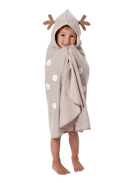 CuddleDry Накидка с капюшоном для малышей ОлененокНакидка с капюшоном для малышей ОлененокПолотенце-пончо CuddleDry  Олененок   для малыша – большое, мягкое, теплое, веселое!   Особенности: Предназначено для ежедневного использования Вашим ребенком и прекрасно подойдет в качестве великолепного подарка. Бамбуковое волокно и органический хлопок - шелковистое мягкое, на 60% лучше впитывает влагу, чем чистый хлопок, обладает естественными антибактериальными свойствами. Достаточно большое, ОДНОСЛОЙНОЕ, позволит Вам хорошенько укутать кроху. Уютный капюшон впитывает влагу с волос малыша и сохраняет тепло. Для детей, начиная с возраста, когда ребенок уже может самостоятельно ходить, и до 3-х лет. Развивает воображение. Размер 65х125см.<br>