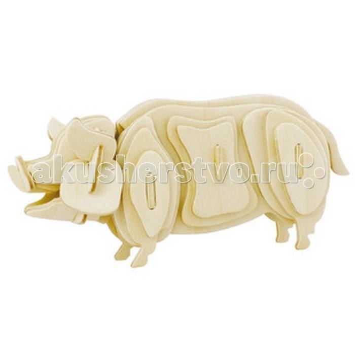 Конструктор Education Line 3D Деревянные Пазлы Животные Свинка3D Деревянные Пазлы Животные СвинкаEducation Line 3D Деревянные Пазлы Животные Свинка M012A  Сборная деревянная модель Свинья из серии Животные представлена в наборе из плоских деревянных деталей, которые крепятся между собой, образуя объемную модель. Собранная модель имеет вид взрослой свиньи, на морде у свиньи красуются забавные направленные вперед ушки и нос-пятачок, на котором имеются углубления-ноздри.  Сборка таких деревянных моделей - это увлекательное занятие для маленьких и взрослых. Собранную модель можно будет прихватить клеем, покрасить на свой вкус или просто покрыть лаком. Клей, краска и лак не входят в комплект.<br>