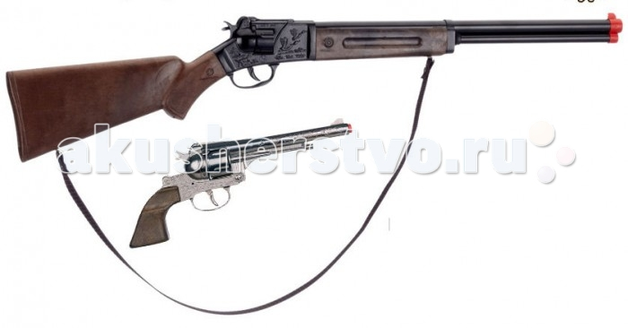 Gonher Игрушечное оружие Ковбойский набор с винтовкой на 12 пистоновИгрушечное оружие Ковбойский набор с винтовкой на 12 пистоновИгрушечное оружие Gonher Ковбойский набор с винтовкой на 12 пистонов  Реалистичное оружие Gonher соответствует всем стандартам качества и отвечает самым высоким нормам безопасности.   В наборе:    винтовка на 12 пистонов;  револьвер на 8 пистонов;  кобура;  наручники;  звезда шерифа.   Пистоны не входят в комплект!<br>