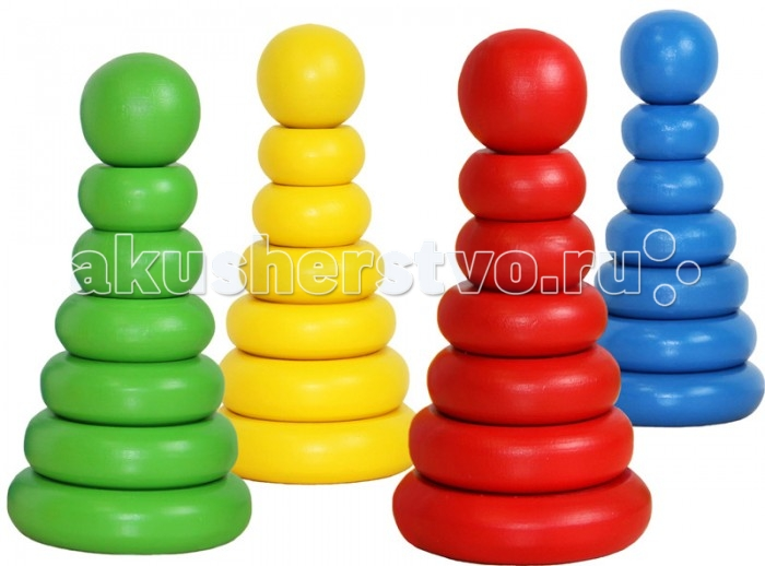 Деревянная игрушка Краснокамская игрушка Пирамидка ОдноцветнаяПирамидка ОдноцветнаяКлассическая пирамидка, которая выполнена из высококачественной экологически чистой древесины - береза, бук, липа. Дерево не токсично и не вызывают у ребенка аллергию. Плюсом для заботливых родителей станет то, что деревянные игрушки устойчивы, практичны и долговечны, они не могут разбиться на мелкие осколки или раскрошиться, а потому не травматичны.   Задача ребенка - собрать все колечки на палочку. Сложность в том, что поочередность их должна быть от самого большого колечка к маленькому, или наоборот. Такая непростая задача развивает внимательность, усидчивость и настойчивость в характере малыша. Ко всему прочему развивается координация движений. Верх пирамидки украшает яркий шарик, завершающий композицию. Своей формой он делает острую форму пирамиды безопасной для ребенка.  Ребенок может подбрасывать, пробовать на вкус, катать и бросать колечки - познавать мир в увлекательном занятии. К тому же малышу будут интересны новые ощущения, ведь фактура дерева интересна – прожилки, впадинки и выпуклости. В зависимости от задачи, которую вы поставите перед ним, можно также научиться считать. При этом не особо докучая малышу с процессом обучения, играючи, он с легкостью получит необходимые знания.  Гладкие на ощупь, абсолютно безопасные детали пирамидки не оставят заноз и не смогут поранить. Все детали полностью безопасны даже для самых маленьких малышей - от года. Игрушка покрыта акриловыми красками. На выбор покупателя пирамидка представлена в четырех цветах - синем, зеленом, красном и желтом.<br>