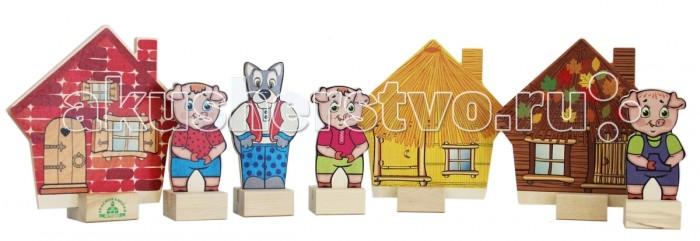 Деревянная игрушка Краснокамская игрушка Набор Персонажи сказки Три поросёнка