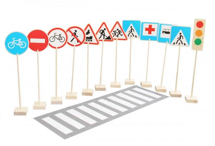 Деревянная игрушка Краснокамская игрушка Набор напольный Знаки дорожного движенияНабор напольный Знаки дорожного движенияНапольный набор «Знаки дорожного движения» - обучающая развивающая игра детей. Она расскажет малышам о правилах поведения на дороге, поможет обыграть различные ситуации, которые могут возникнуть с ними на улице и проезжей части. Игровые материалы научат маленьких пешеходов безопасности и познакомят с основными дорожными знаками. Помимо прочего, игра развивает память.   Игровой набор предназначен для детей от трех лет и старше. Все детали игры выполнены из экологически чистых материалов – натуральное дерево (бук, береза, липа). Сами макеты крупные, высотой 80 сантиметров, они ставятся на подставки на пол. Их несложно собрать и легко разместить в группе или классе.  Отлично подойдет для детских садов и школ. Педагог легко сможет мотивировать детей изучить правила дорожного движения, устроив конкурс или соревнование в игровой форме. Дети весело проведут время и вынесут из игры полезные знания. Вы найдете здесь знаки: дорожка для велосипедов осторожно, дети ж/д переезд переход для пешеходов пункт оказания мед.помощи остановка автобуса дорожные работы въезд запрещен въезд на велосипеде запрещен движения пешеходов запрещено  Также в игре есть две наклейки со светофором. У одной из них «горит» красный цвет, у другой «зеленый».  В набор «Знаки дорожного движения» входит:   таблички из фанеры - 12 шт подставки для держателей – 12 шт палочки-основы для поддержки знаков - 12 шт наклейки со знаками - 13 шт клеенка «пешеходный переход» длиной 1.5 метра<br>