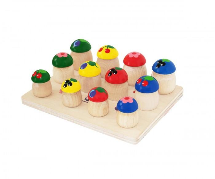 Деревянная игрушка Краснокамская игрушка ГрибочкиГрибочкиИгра используется в качестве пособия в предметной деятельности. В комплект входит деревянная платформа и 15 грибочков разной формы и размеров (крепятся к платформе).   Изделие ярко раскрашено и привлечет внимание ребенка в возрасте от одного года и старше. В процессе игры ребенок разовьет мелкую моторику, получит первые представления о форме и геометрии объектов, научится сопоставлять их размеры.  Набор «Грибочки» поможет: Освоить навыки счета Научиться элементарным математическим действиям и операциям (складывать, вычитать Развить логическое и аналитическое мышление Научиться различать основные цвета Группировать объекты по схожим признакам (например, грибочки с красной шляпкой или одного размера)  Игра изготовлена из натуральных экологичных материалов: древесины бука, березы и липы. Расписана безопасными акриловыми красками. Они не тускнеют со временем, не стираются при интенсивном использовании – набор долго сохраняет свою привлекательность. Изделие сертифицировано и соответствует жестким государственным стандартам качества.<br>