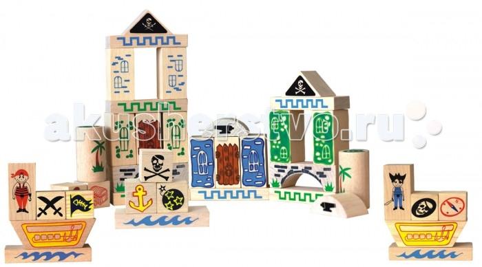 Конструктор Краснокамская игрушка Пираты 40 деталейПираты 40 деталейДеревянный конструктор «Пираты» состоит из 40 строительных деталей. Конструктор идеально подойдет для подарка вашему малышу.  Этот набор мгновенно перенесет детей в мир пиратов, островов, кораблей и сокровищ. Играя конструктором, ребенок сам будет выдумывать новые истории об этих сказочных персонажах. Самые маленькие познакомятся с формами – кубики, кирпичи, пластины, цилиндры.  Дети постарше изучат названия стройматериалов, смогут строить более сложные конструкции, а также добавлять в игру новых персонажей. Пиратские картинки на деталях конструктора могут заинтересовать ребят историей пиратства и морских приключений. Набор развивает у детей фантазию, воображение, память и мелкую моторику, творческие способности и архитектурные навыки. Убирая разбросанные кубики после игры, ребенок приучается к порядку.   Все детали изготовлены из экологически чистых материалов – массива дерева (бук, береза, липа). Каждый элемент покрашен безопасной акриловой краской. Покрытие не боится воды, и не смоется, даже если малыш решит взять кубики с собой в ванную. Деревянный конструктор очень долговечный. Детали достаточно тяжелые, что придает построенным конструкциям устойчивость.<br>