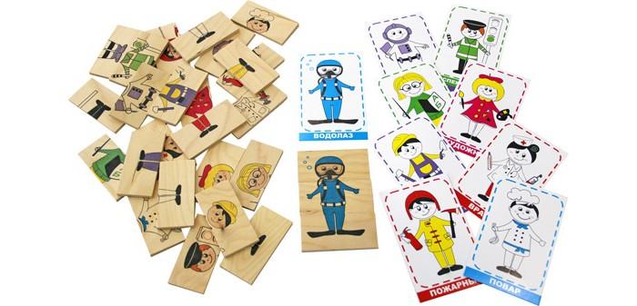 Краснокамская игрушка Логическая игра ПрофессииЛогическая игра ПрофессииИгра, которая ориентирована на детей от трех лет. Это как раз тот возраст, когда у ребенка начинается активное познание окружающего мира, он начинает вливаться в социум, учиться взаимодействовать с другими людьми. Именно в этот момент он начинает различать людей в том числе по профессиям.  В комплекте: десять картонных тематических карточек тридцать деревянных картинок вкладыш с правилами игры  Родители смогут в различном порядке выкладывать карточки и тем самым рассказывать ребенку о взаимодействии представителей различных профессий, а также рассказывать кто и чем занимается на работе.   Благодаря картинкам, ребенок со временем начнется идентифицировать представителей определенных специальностей по форме. Например, он точно будет знать, как выглядит полицейский и что именно к нему можно будет обратиться в случае, если он, например, потеряется в людном месте.  Кроме того, авторы игры написали занимательные стихи-загадки о представителях всех профессий, которые есть в игре. Стихи, которые понравятся ребенку, он обязательно попытается выучить или запомнить, а это отличный способ потренировать память.  В целом же, игра позволит начать ребенку лучше ориентировать в социуме, поможет развить логическое мышление, память и мелкую моторику.<br>