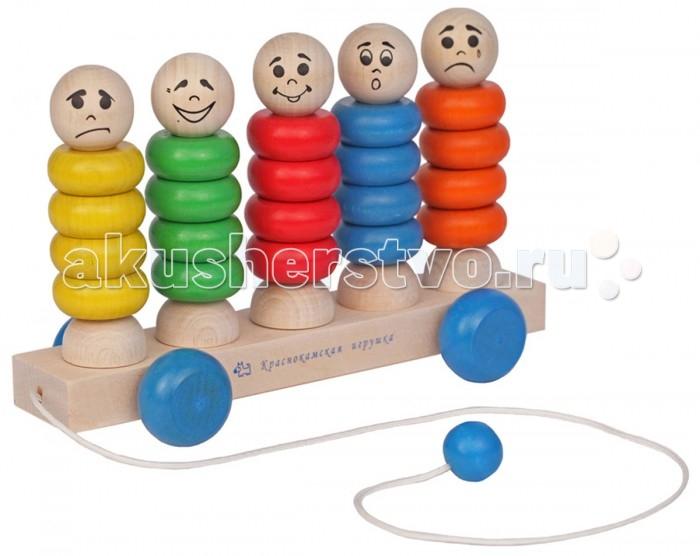 Деревянная игрушка Краснокамская игрушка Каталка КвинтетКаталка КвинтетМногофункциональная развивающая игрушка для детей от 1 года до 4 лет. Может использоваться в качестве каталки, развивающей пирамидки, обучающего пособия по распознаванию базовых человеческих эмоций (грусть, радость, удивление). Игрушка не только занимательна, но и направлена на развитие у ребенка: логики мелкой моторики чувства цвета и формы элементарных математических навыков  С помощью «Квинтета» малыш освоит такие понятия, как «много» и «мало», «один» и «несколько», научится различать цвета и узнает правила счета. Также игрушка составит компанию в активных играх (в качестве каталки) и способствует развитию координации, формированию правильного ощущения своего тела в пространстве.  Изделие изготовлено из натуральной экологически чистой древесины и покрыто безопасными акриловыми красками. Покрытие не трескается, не истирается и не откалывается, игрушку можно мыть без риска повредить слой краски.   «Квинтет» сохраняет свою яркость и привлекательность на протяжении всего срока службы. Игрушка сертифицирована и соответствует жестким государственным стандартам качества, поэтому является любимым выбором заботливых родителей.<br>