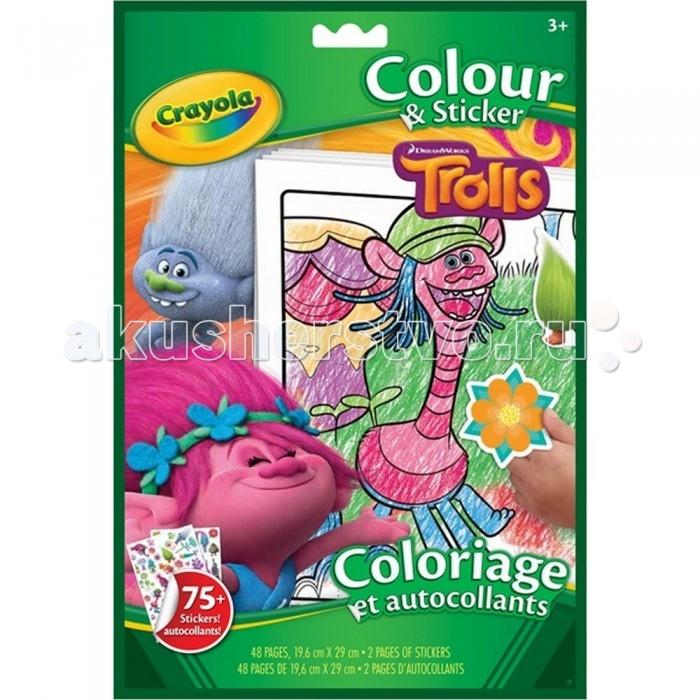Раскраска Crayola С наклейками ТроллиС наклейками ТроллиCrayola Большая раскраска Тролли  Раскраска с наклейками Тролли  включает в себя 48 листов для раскрашивания и 2 дополнительных листа, которые включают в себя 75 наклеек.   На каждой странице изображены известные персонажи мультфильма «Тролли». Наклейки можно приклеить в специальные места в книжке, которые ребенок найдет по соответствию силуэта, а также при желании туда, куда ребенок захочет приклеить сам.   Обложка раскраски очень красочна, на ней изображены веселые герои мультфильма. Для раскрашивания можно использовать любые карандаши или фломастеры.   Изделие выполнено из прочной и качественной бумаги.<br>