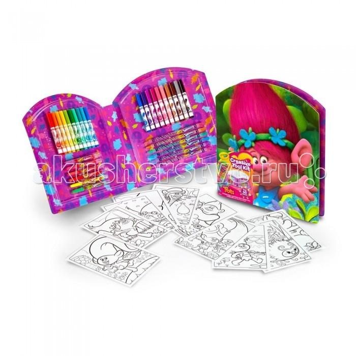 Раскраска Crayola Набор для творчества ТроллиНабор для творчества ТроллиCrayola Набор для творчества Тролли  Набор для творчества «Тролли», выпущенный британским брендом Crayola к выходу одноименной анимационной комедии о приключениях забавных существ, включает в себя более 30 принадлежностей для рисования и 10 листов для раскрашивания.   В удобной упаковке вы найдете 20 тонких смываемых фломастеров с фетровыми наконечниками, 6 выкручивающихся карандашей и 6 выкручивающихся восковых мелков.   На 10 листах для раскрашивания изображены герои мультфильма «Тролли».   Размеры упаковки: 28,7х23,7х3,2 см.  Вес игрушки: 377 грамм.<br>
