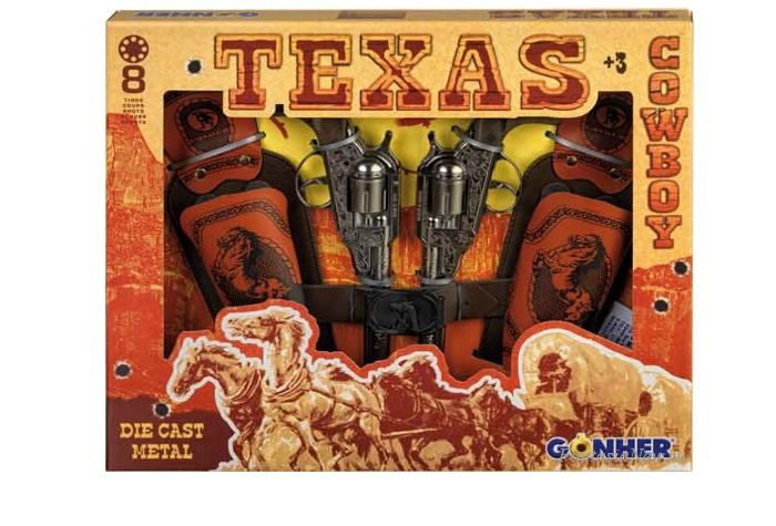 Gonher Игрушечное оружие Техасский Ковбой на 8 пистоновИгрушечное оружие Техасский Ковбой на 8 пистоновИгрушечное оружие Gonher Набор Техасский Ковбой на 8 пистонов  Реалистичное оружие Gonher соответствует всем стандартам качества и отвечает самым высоким нормам безопасности.  В набор входят: Два револьвера на 8 пистонов и две кобуры.  Пистоны не входят в комплект!<br>