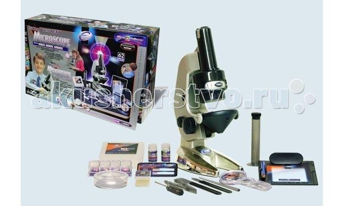 Eastcolight Набор для исследований Микроскоп с увеличением в 100х600х1200 62 предметаНабор для исследований Микроскоп с увеличением в 100х600х1200 62 предметаEastcolight Набор для исследований Микроскоп с увеличением в 100х600х1200 62 предмета  Микроскоп - чудесный подарок для ребенка, интересующегося устройством мира. Этот микроскоп имеет увеличение в 100х, 600х, 1200х, работает от батареек и продается вместе с 62 необходимыми для работы предметами, такими, как предметные стекла с образцом, покрывающие стекла, покрывающие слайды, чистые этикетки, пузырьки для химических реактивов, пластиковые пробирки, анатомическая игла, скальпель, Чашка Петри, микро-инкубатор, отвертка, шпатель, пинцет, лупа и другими.  У микроскопа оптические стеклянные линзы для максимальной четкости и прочная долговечная металлическая стойка. Порадуйте своего юного исследователя этим замечательным набором!  Возраст: от 8 лет<br>