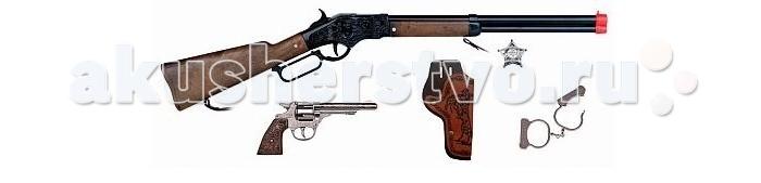 Gonher Игрушечное оружие Ковбойский игровой набор с винтовкой на 8 пистоновИгрушечное оружие Ковбойский игровой набор с винтовкой на 8 пистоновИгрушечное оружие Gonher Ковбойский игровой набор с винтовкой на 8 пистонов  Реалистичное оружие Gonher соответствует всем стандартам качества и отвечает самым высоким нормам безопасности.   В наборе:    винтовка на 8 пистонов,  револьвер,  кобура,  наручники  звезда шерифа.   Пистоны в комплект не входят.<br>