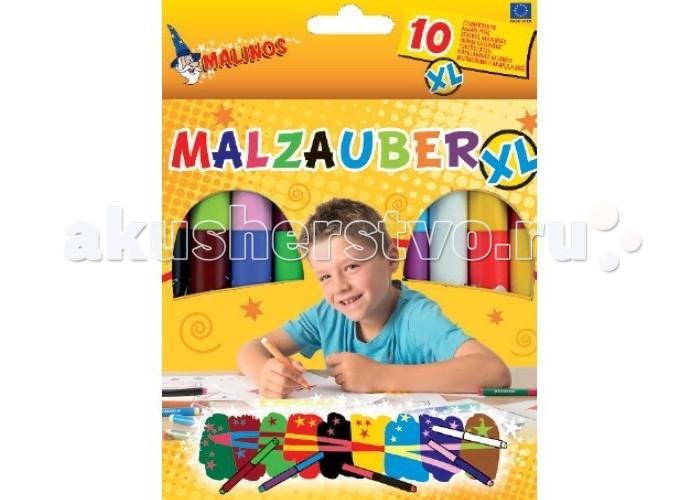 Фломастеры Malinos Магические XL 10 шт.Магические XL 10 шт.Malinos Фломастеры магические XL 10 шт.  Большие волшебные фломастеры с яркими цветами и одним белым волшебным фломастером доставят истинное удовольствие.   Рисуешь цветным фломастером, затем проводишь белым волшебным карандашом и рисунок становится невидимым. Если нарисовать сперва белым фломастером, а затем цветным фломастером, то нарисованное белым фломастером проявляется другим цветом и можно прочитать или разглядеть рисунок, который ты спрятал на своем листе или на листе своих друзей!   Волшебство заключается в том, что цвета не смешиваются и соответствуют цвету наносимого фломастера! Прикоснись к магии цвета!<br>