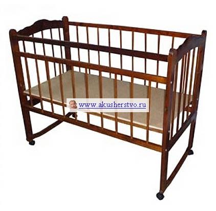 Детская кроватка Ладушка Л-4 колесо/качалка автостенка