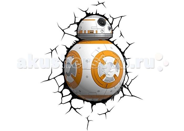 Светильник 3DlightFX Пробивной 3D StarWars (Звёздные Войны) Дроид BB-8Пробивной 3D StarWars (Звёздные Войны) Дроид BB-8Пробивной 3D светильник StarWars (Звёздные Войны) Дроид BB-8. Безопасный: без проводов, работает от батареек (3хАА, не входят в комплект); Не нагревается: всегда можно дотронуться до изделия; Реалистичный:3D наклейка-имитация трещины в комплекте; Фантастический: выглядит превосходно в любое время суток; Удобный: простая установка (автоматическое выключение через полчаса непрерывной работы). Товар предназначен для детей старше 3 лет. ВНИМАНИЕ! Содержит мелкие детали, использовать под непосредственным наблюдением взрослых.  Основные характеристики:   Размеры: 25.4 х 32.8 х 12.2 см Вес: 0,8 кг<br>