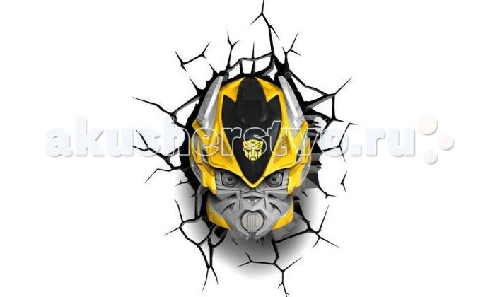 Светильник 3DlightFX Пробивной 3D светильник TRNSFMR Bumble Bee (Бамблби)Пробивной 3D светильник TRNSFMR Bumble Bee (Бамблби)Пробивной 3D светильник TRNSFMR Bumble Bee (Бамблби). Безопасный: без проводов, работает от батареек (3хАА, не входят в комплект); Не нагревается: всегда можно дотронуться до изделия; Реалистичный:3D наклейка-имитация трещины в комплекте; Фантастический: выглядит превосходно в любое время суток; Удобный: простая установка (автоматическое выключение через полчаса непрерывной работы). Товар предназначен для детей старше 3 лет. ВНИМАНИЕ! Содержит мелкие детали, использовать под непосредственным наблюдением взрослых.   Основные характеристики:   Размеры: 22.5 х 30.5 х 15.5 см Вес: 0,89 кг<br>