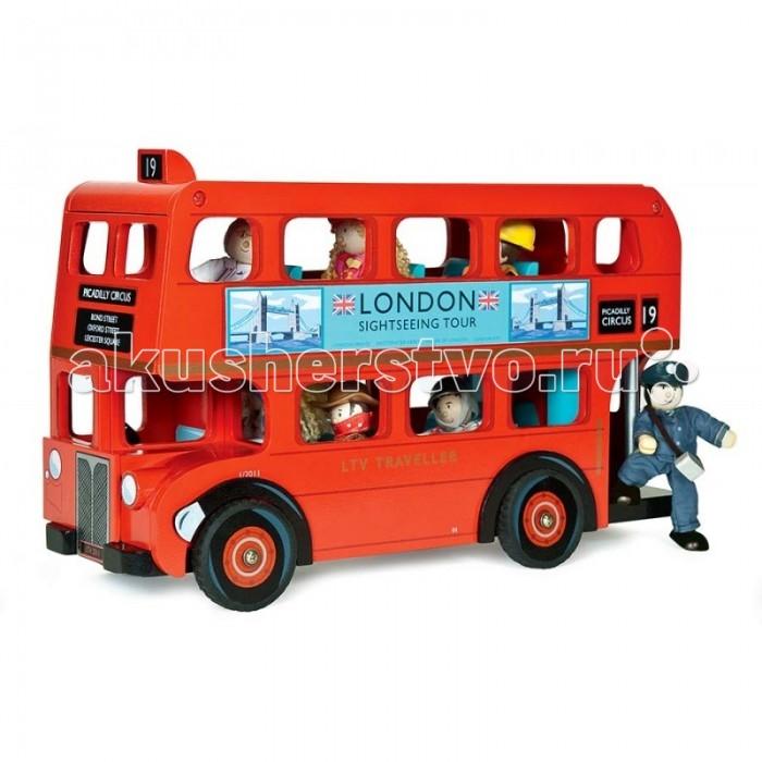 Деревянная игрушка LeToyVan Набор Лондонский автобус с водителем и пассажирамиНабор Лондонский автобус с водителем и пассажирамиНабор Лондонский автобус с водителем и пассажирами- точная копия лондонском автобуса даблдекер Routemaster с водителем и пассажирами.  Автобус имеет традиционный цвет, указание номера маршрута, рекламу по бокам. Съемная крыша автобуса открывает доступ в пространство второго этажа. Съемные сидения второго этажа открывают доступ к пассажирам первого этажа. В набор включена фигурка водителя. В автобусе может поместиться до 11 подобных фигурок (кукол).  Игрушечный автобус упакован в специальную подарочную коробку с открытым окном и яркими иллюстрациями Лондона.    В комплект включены 7 кукол различных профессий: Кукла полицейский Кукла разбойни Кукла повар Кукла королевский гвардеец Кукла гонщик Кукла доктор Кукла футбольный судья Куклы выполнены из дерева, одежда из ткани, ручки и ножки гнуться. Каждая из кукол имеет индивидуальную упаковку. Игрушки можно использовать как вместе - куклы будут пассажирами в автобусе, так и в любых других сюжетных играх.  Размер автобуса: 36х13х23 см.<br>