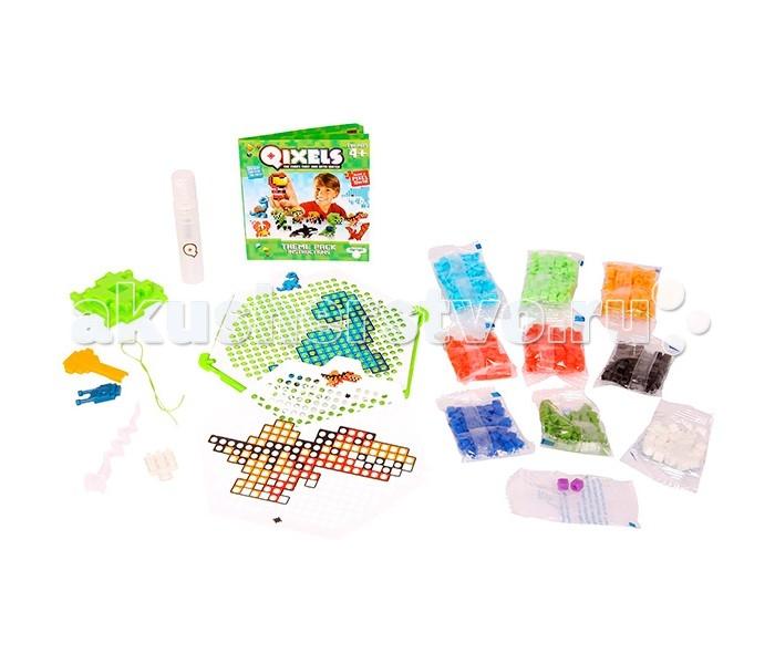 Qixels Набор для творчества ДинозаврыНабор для творчества ДинозаврыQixels Набор для творчества Динозавры  Создание двухмерных фигурок из маленьких разноцветных кубиков – это новое хобби, которое непременно понравится Вам и Вашему ребенку. Тематический набор для творчества Qixels Динозавры позволит Вам сделать собственными руками забавные фигурки динозавриков. Соберите фигурку из ярких деталей по одному из 4-х лекал, входящих в комплект набора, после чего обрызгайте её водой из распылителя и подождите 30 минут. После высыхания, с полученной фигуркой можно играть как с самой обычной игрушкой! Кроме лекал, входящих в набор, Вы можете использовать свои собственные дизайн-лекала и собирать из кубиков Квикселс совершенно уникальных и неповторимых персонажей.  В комплект набора входит: 500 x кубиков 1 x дизайн лоток 4 x цветных дизайн лекала 1 x опора 1 x база 2 x аксессуара 1 x бирка с нитью 1 x распылитель для воды 1 x инструкция<br>