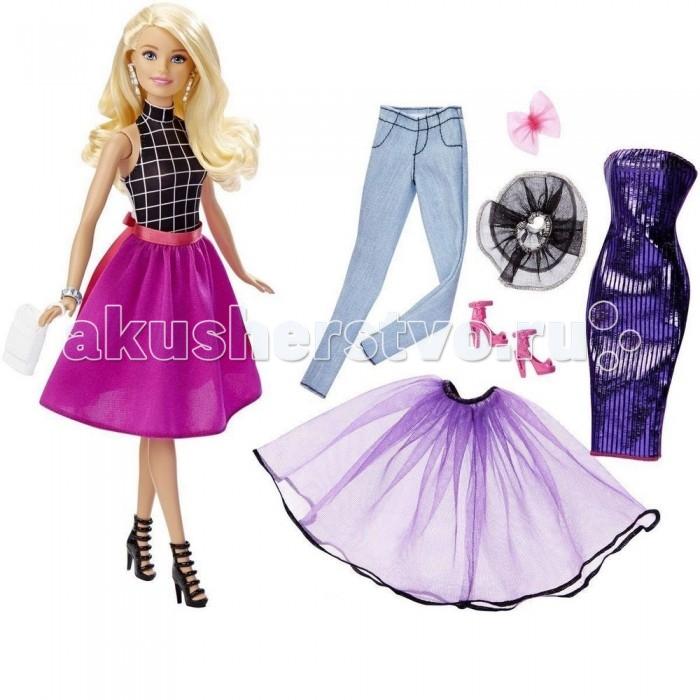 Barbie Кукла Тереза в розовой юбке с дополнительными нарядамиКукла Тереза в розовой юбке с дополнительными нарядамиBarbie Кукла Тереза в розовой юбке с дополнительными нарядамипоможет создать более двадцати  ярких и запоминающихся образов.   Восхитительная кукла Тереза одета в трикотажный черно-белый топ в крупную клетку с воротником стойкой. Пышная розовая юбка доходит до колен, по поясу проходит широкая атласная лента.   Длинные светлые волосы аккуратно расчесаны и украшены розовым бантом. Дополняют наряд крупные серебристые серьги и браслет. Ноги Терезы обуты в высокие черные босоножки на каблуке.   В комплект также входит блестящее фиолетовое платье-футляр, голубые джинсы, пышная фиолетовая юбка, черная кружевная оборка с серебристой окантовкой, розовые босоножки на высоком каблуке и белый клатч. Голова куклы поворачивается, руки и ноги можно поднимать и опускать.   Высота куклы: 30 сантиметров.  Игрушка продается в блистерной упаковке.  Рекомендуется детям старше 3 лет.<br>